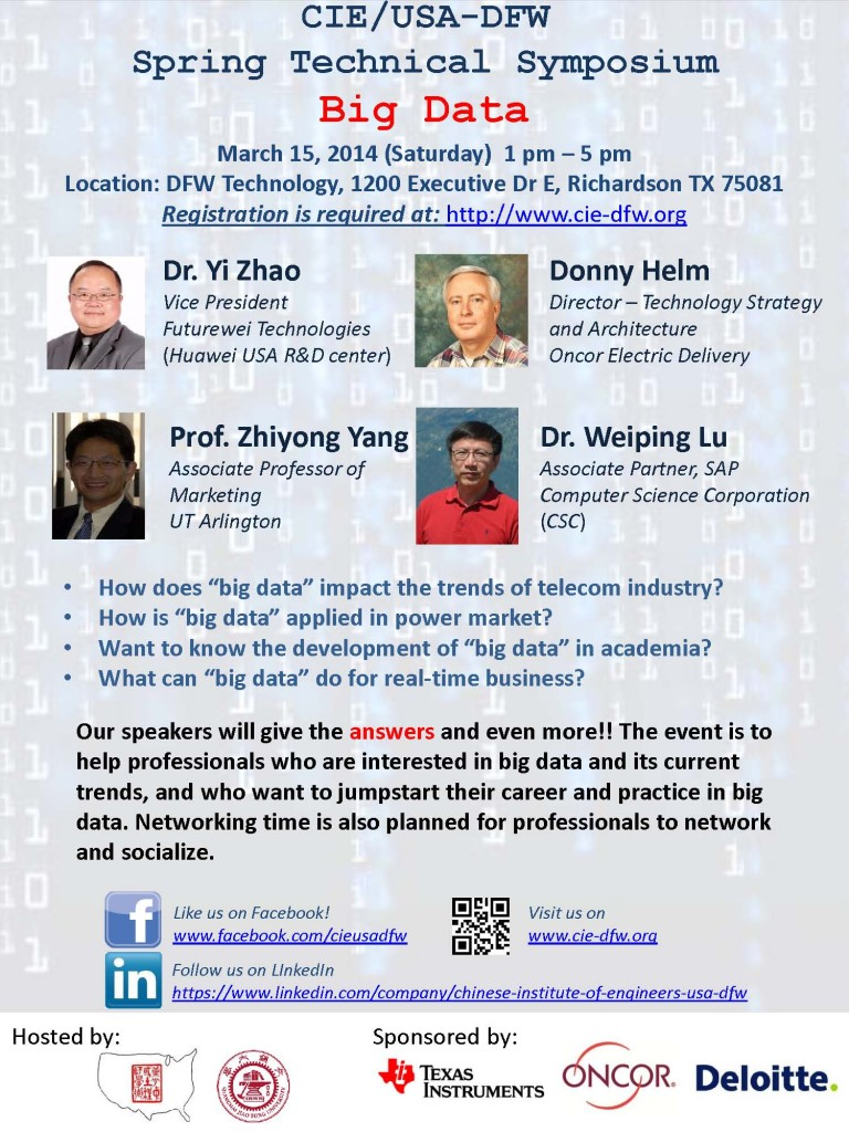 CIE/USA-DFW 2014 Spring Symposium Flyer - Big Data